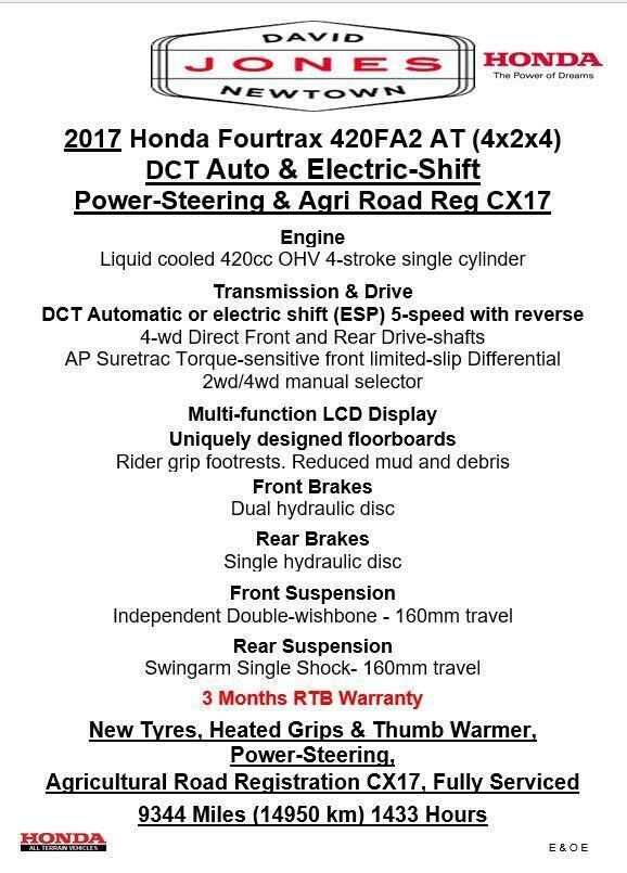 2017 HONDA TRX420AT FA FA2 AUTO FOURTRAX 4x2x4 4WD QUAD ATV FOUR WHEELER