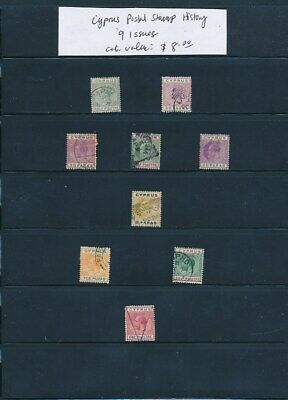 OWN PART OF CYPRUS POSTAL STAMP HISTORY. 9 ISSUES CAT VALUE $8.00