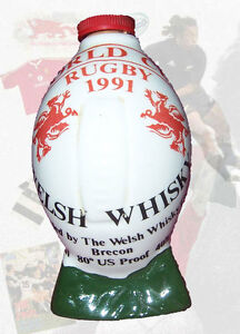 Rugby World Cup 1991 - Welsh Whisky ceramic empty miniature shape Rugby Ball