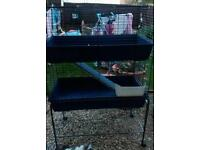 Indoor double cage on stand with shelf small rabbit or guine pigs