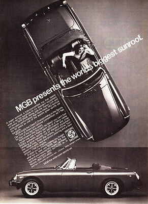"1976 MG MGB Convertible photo ""World's Biggest Sunroof"" promo print ad"