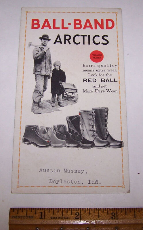 Vintage BALL BAND Rubber Boots INK BLOTTER Austin Massey BOYLESTON INDIANA