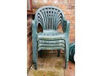 4 green garden patio chairs
