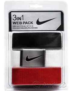 NEW NIKE GOLF 3 IN 1 WEB CANVAS BELT PACK BLACK BLUE ORANGE WHITE 32 34 36 38 40