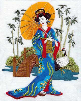 Geisha in Japanese Garden  EMBROIDERED SET 2 BATHROOM HAND TOWELS by - Japanese Hand Towels