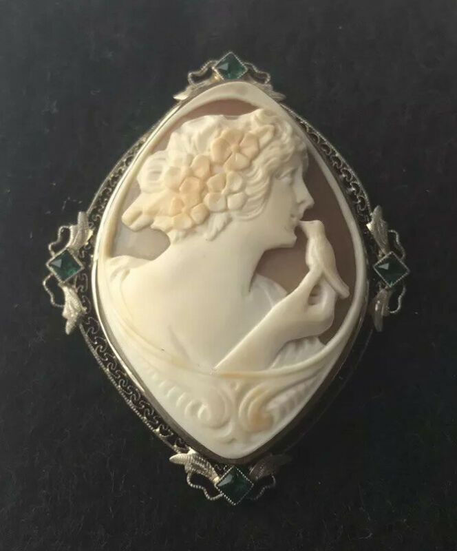 Antique 14K Gold Cameo With Bird Carved Shell Brooch Pendant Filigree Emeralds