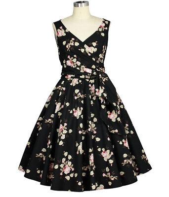 50s Pinup Vintage Rose Tea Dress ~ Rockabilly Retro Floral 1950 Plus Size Swing