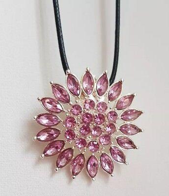 Halskette Anhänger 4 cm silberfarben Sonne Blume Strass rosa *NEU* K 174 (Sonne Halskette)