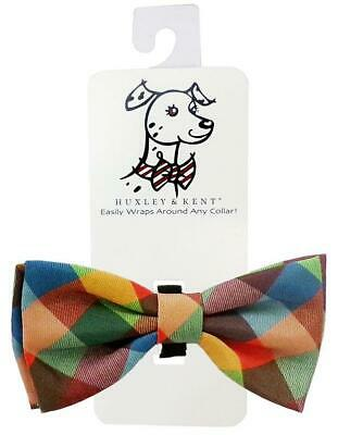 NEW Orange Green Brown Fall Check Dog Bow Tie Collar Attachment Huxley & Kent Dog Bow Tie