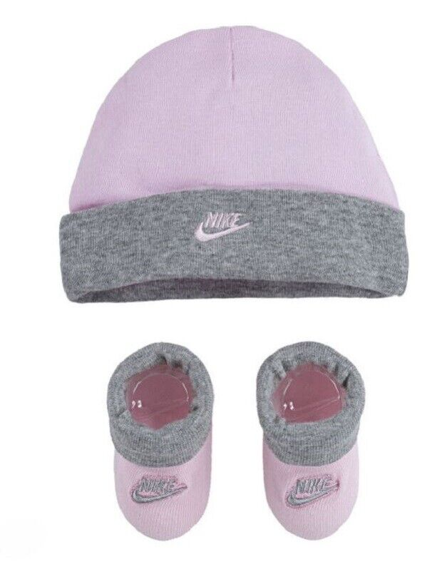Nike Infant Baby Girls Hat and Booties Set Size 0-6 Months P