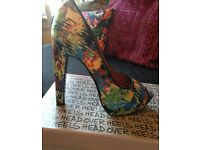 Head Over Heels Colourful Patterned Dune High Heels - Size 5 (normally wear a 6 & fit perfectly)