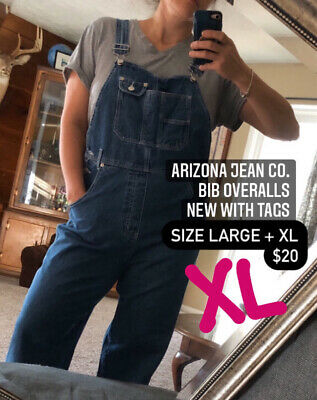 Vintage Overalls & Jumpsuits Arizona Jeans Company Women's Denim Bib Overalls Size X-Large With Pockets $20.00 AT vintagedancer.com