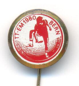 TABLE TENNIS - EUROPEAN CUP 1980 Bern Switzerland - gold plated pin badge - <span itemprop='availableAtOrFrom'>VIENNA, Österreich</span> - TABLE TENNIS - EUROPEAN CUP 1980 Bern Switzerland - gold plated pin badge - VIENNA, Österreich