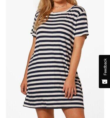 boohoo curve plus ria jersey stripe t shirt dress US Size 12 A977