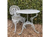Vintage Cast Metal Garden Bistro 2 Piece Set - Matching Table & Chair!