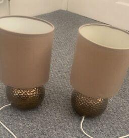 Pair bedside lamps. £10