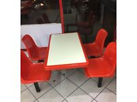 Takeaway fixed table chair