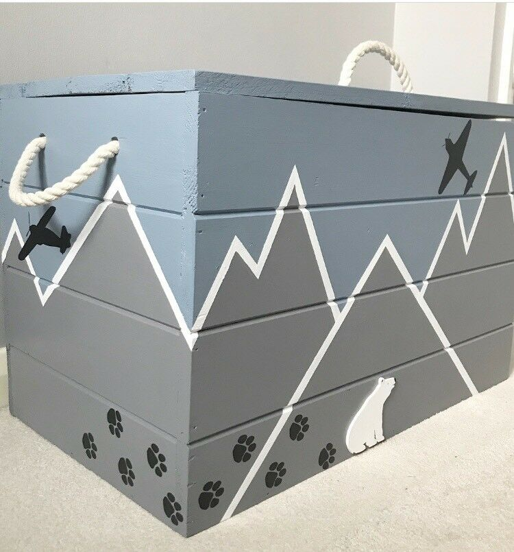 New Handpainted Solid Wood Blue Amp Grey Toy Box Chest