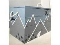 NEW HANDPAINTED SOLID WOOD BLUE & GREY TOY BOX / CHEST / STORAGE