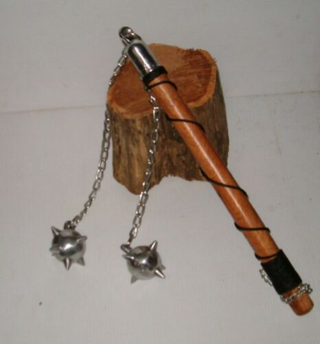 Two Ball Battle Wood Handle Battle Mace , Flail ,Medieval Weapon, FREE SHIPP