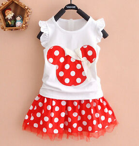 Cute Kids Baby Girls Minnie Mouse Party Dress Vest Skirt Toddler Clothes 1-4Year
