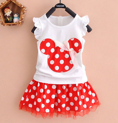 NWT Minnie Mouse Baby Girls White Shirt Red Polka Dot Skirt Outfit Set ](Minnie Mouse Outfit Baby)