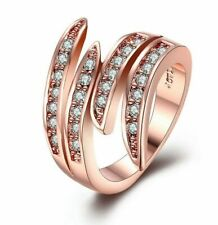 Made with Swarovski Crystals Open Ring 14K Rose Gold ITALY MADE sizes 5-9
