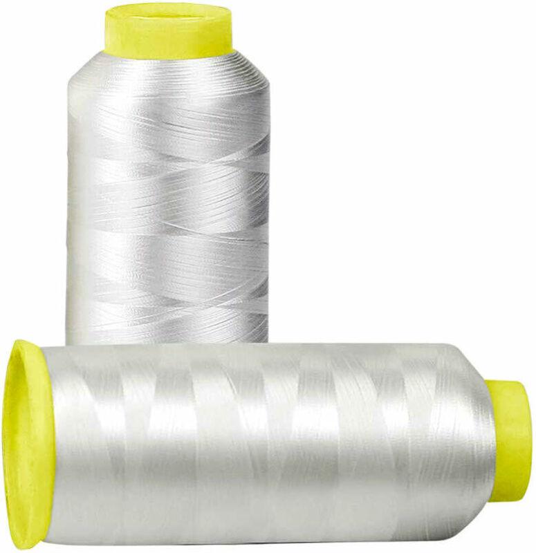 Huge 5000yards Cone Spool Bobbin Thread White Machine Embroidery (Two Pack)