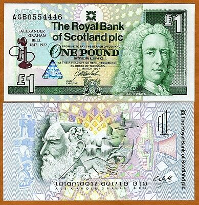Scotland Royal Bank  1 Pound  1997  P 359  Unc   Commemorative  Alexander Bell