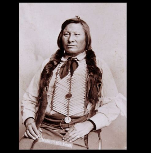 1893 Chief Rain in the Face PHOTO Lakota Indian, Battle of the Little Bighorn