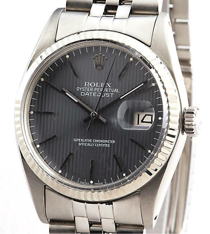 Rolex Datejust Mens Stainless Steel 18k White Gold Watch Slate Tapestry 16014