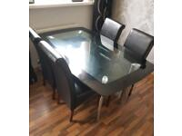 Dinning table & 4 leather chairs