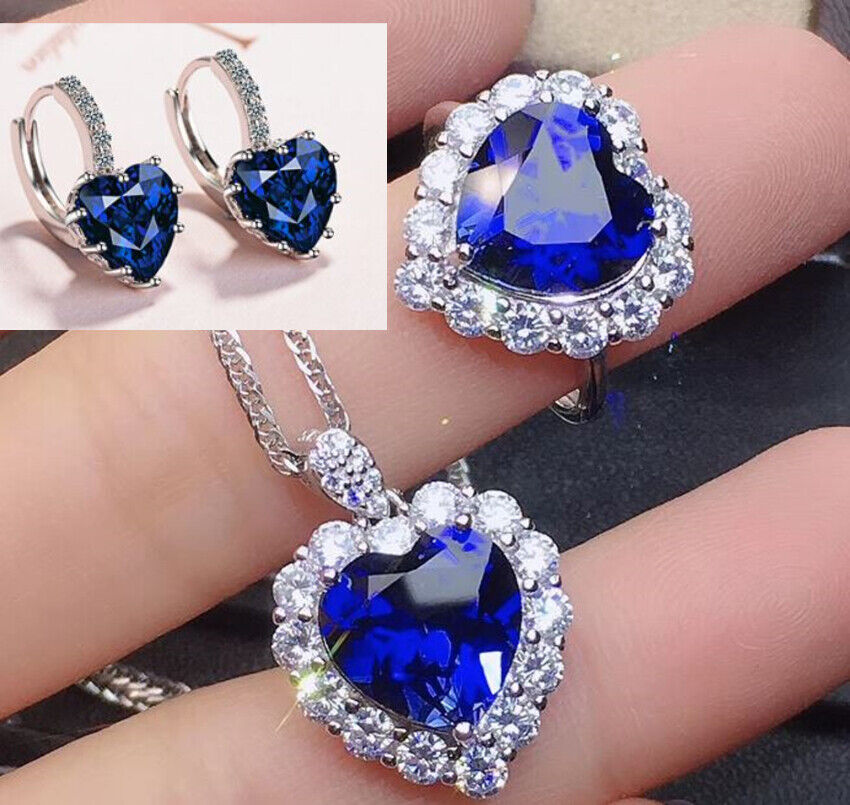 Jewellery - Heart Crystal Pendant 925 Sterling Silver Stud Chain Necklace Womens Jewellery