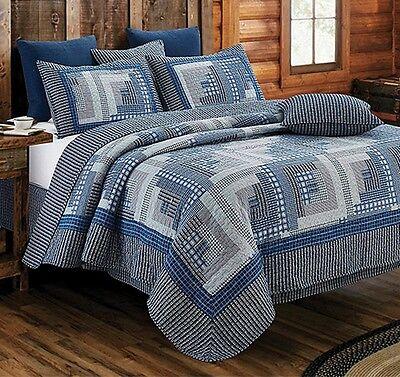 LOG CABIN BLUE Full / Queen QUILT SET : COUNTRY PRIMITIVE MONTANA HOMESPUN LODGE Log Bed Set