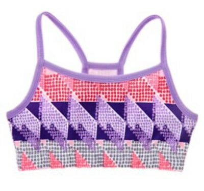 Nwt Girls Gymgo Active Gymboree Sports Bra Geometric Purple Pink L 10-12