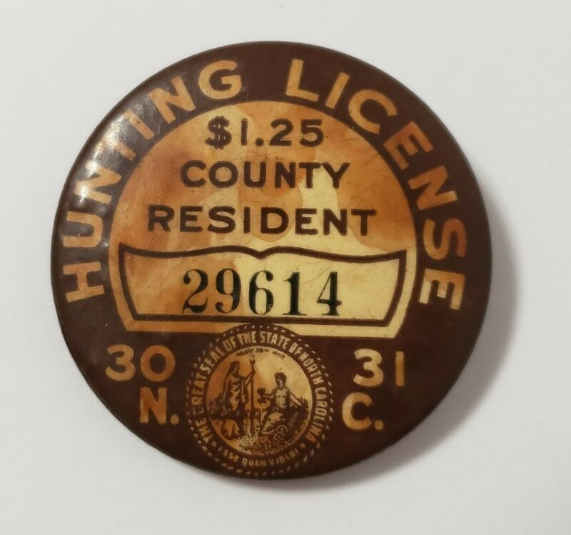 Vintage North Carolina Hunting License