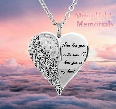 New Angel Heart God has you in his Arms Urn Ashes Cremation Memorial Necklace