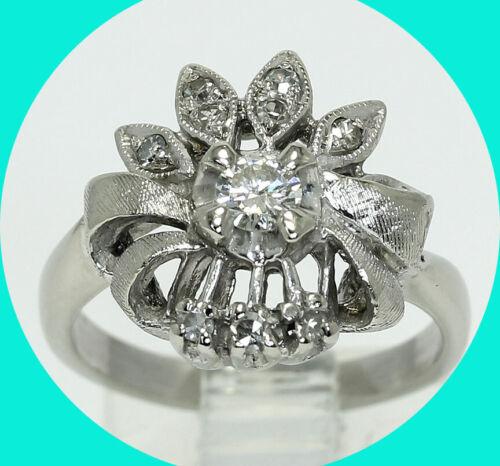 Antique .35CT diamond floral ribbon ring 14K WG round brilliant sz 6