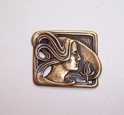 Vintage ART NOUVEAU WOMANS HEAD Pressed Brass Stamping/Embellishment