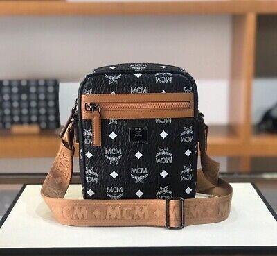 Authentic MCM Visetos Camera Bag, CrossBody Women Men NWT Black/cognac $675+ Tax