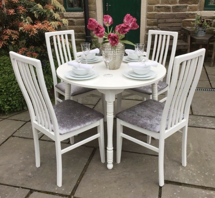Round Dining Table & 4 Chairs ~ Silver Grey Upholstered Seats