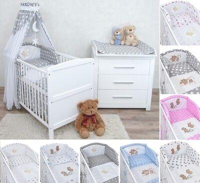 Babyzimmer Kinderzimmer Babybett Wickelkommode weiß Bettwäsche Komplett Set