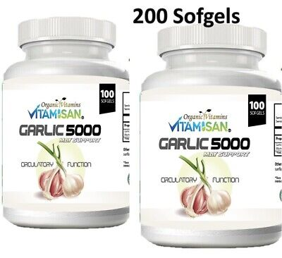 2 Garlic Fresh Extract 5000 mg Cholesterol Health 200 Antioxidant Pills gels