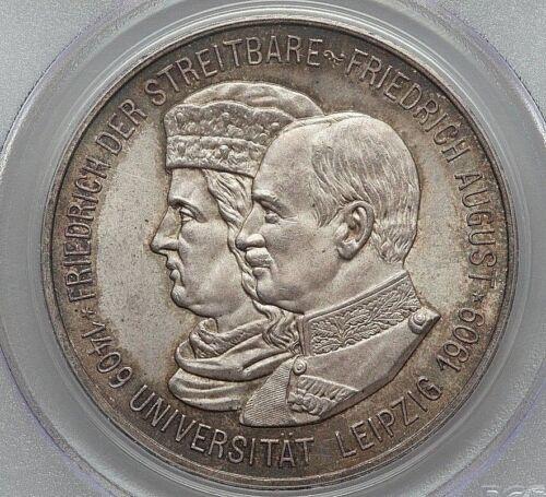 1909 SAXONY FRIEDRICH AUGUST III SILVER 5 MARK PCGS GEM MS-65 L@@K