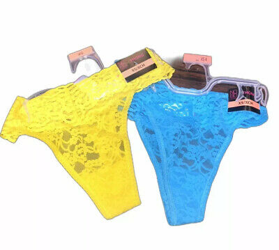 No Boundaries Women's Lace Thongs Blue & Yellow Panties Underwear X-Small NEW Blue Lace Thongs