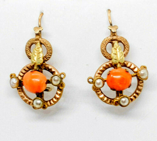 Antique Victorian Coral & Seed Pearl Drop Earrings Gold Filled