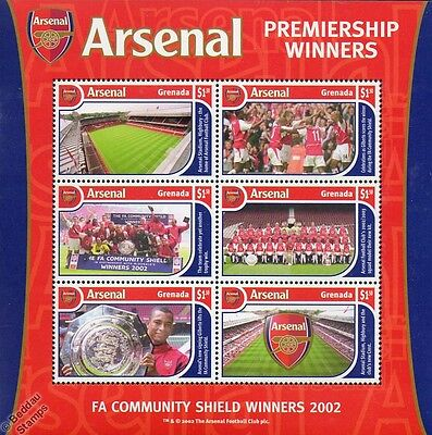 ARSENAL Football Club Stamp Sheet (2002 Grenada) FA Premier League Champions