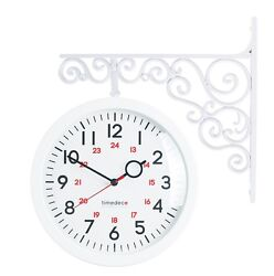 Antique Art Design Double Sided Wall Clock Station Clock Home Decor - A2White