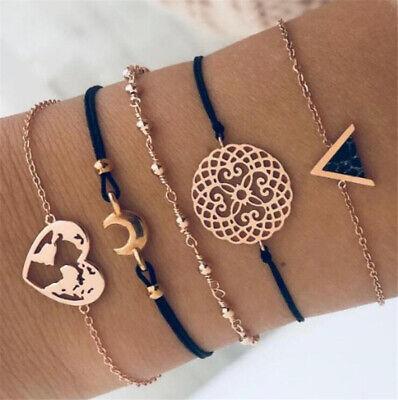 5Pcs/Set Fashion Women Boho Heart Hollow Map Moon Beads Bracelet Bangle Jewelry