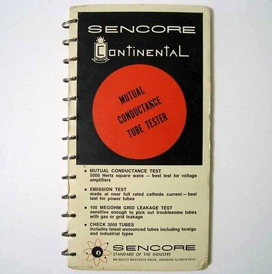 Genuine Sencore Mu140 Mu150 Tube Tester Chart Setup Manual Book